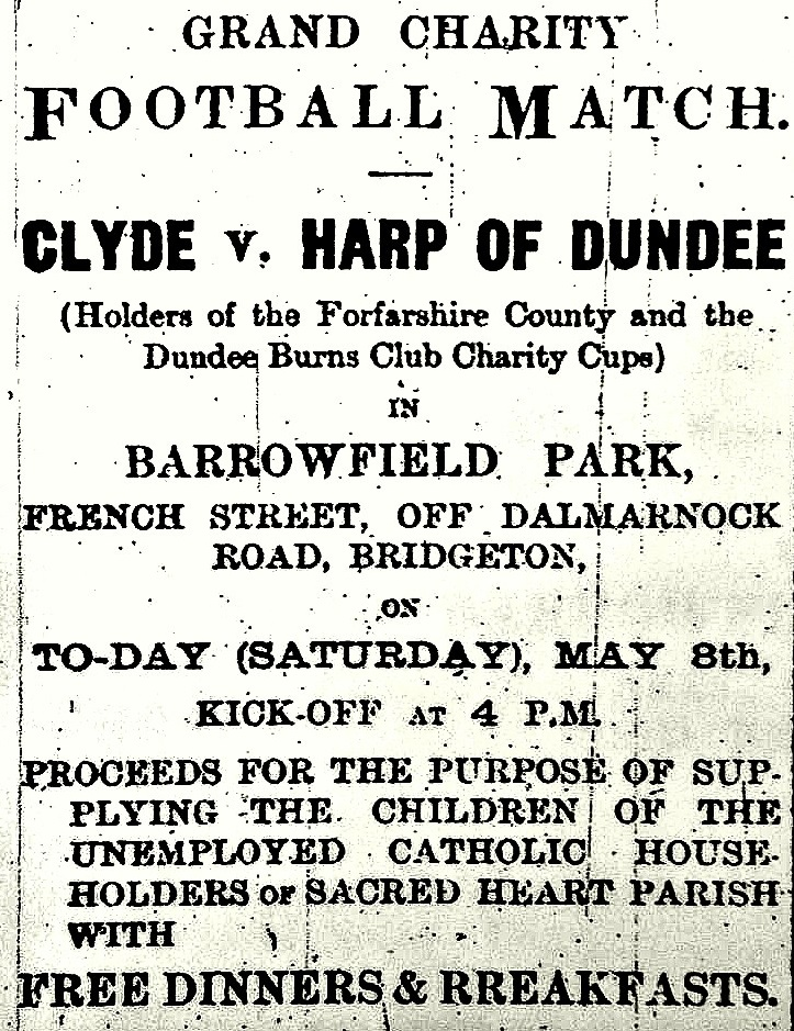 clyde v dundee harp match advert barrowfield may 8th