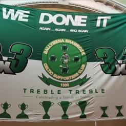 Ballymena Shamrock Treble Treble banner 2019