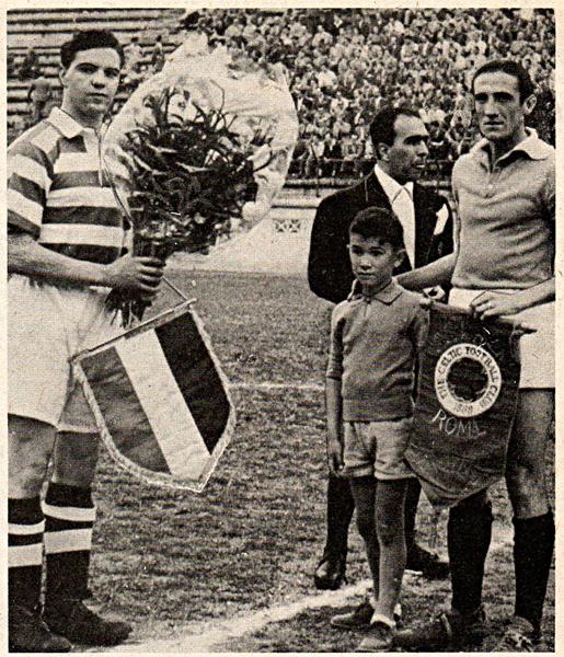Captains and penants Lazio v Celtic 1950