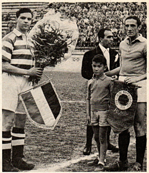 Captains and penants Lazio v Celtic 1950