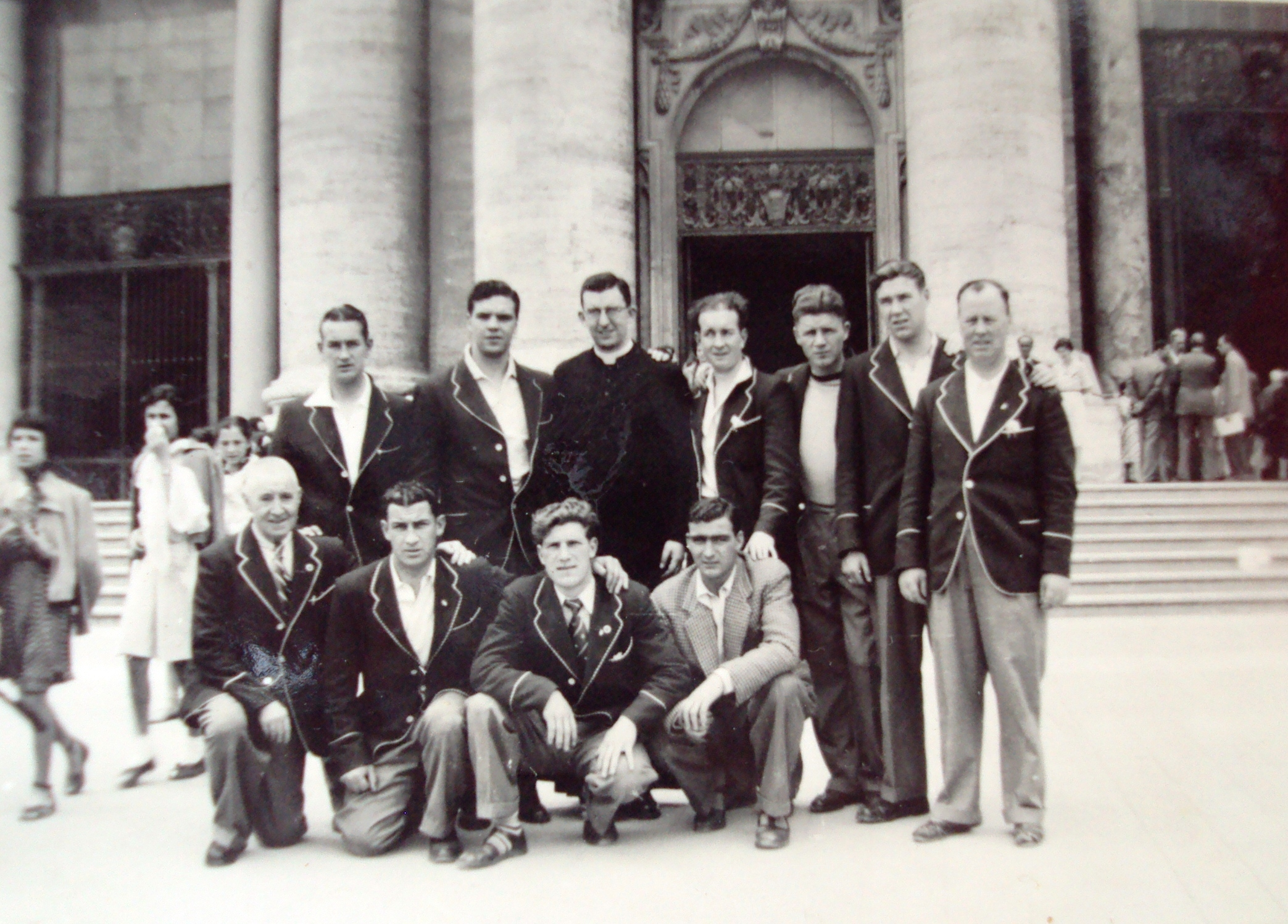 Celtic players and Jimmy Hogan at the Vatican Rome trip 1951