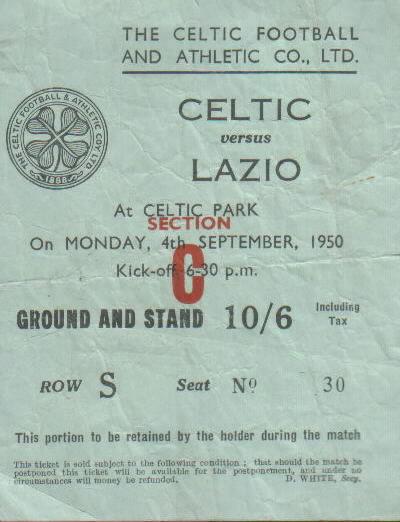 Celtic v Lazio 1950 ticket
