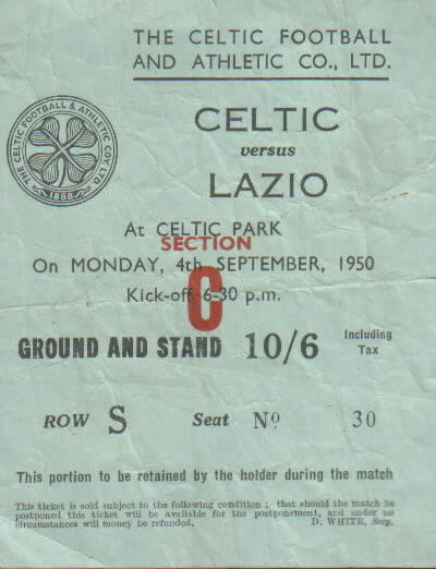 Celtic v Lazio 1950 ticket