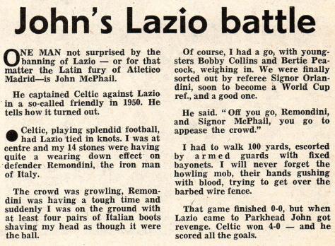John McPhail v Lazio